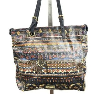 Sakroots Large Tote Purse Coated Canvas Black Mult